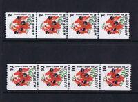 Australian Decimal Coil Stamps 1971-75 Sturt Desert Pea 7c and 10c MNH Strips 4