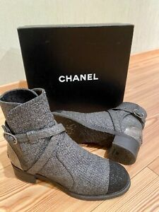Authentic  Chanel Gray Sparkle Tweed Short Boots. Size 38.