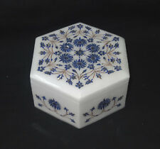 Marble Hexagon Jewelry Box Lapis Lazuli Floral Inlay Art Home Decorative Gifts