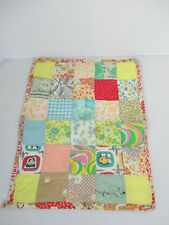 """Quilt Patchwork Squares Small Doll Size Vintage 1960s Hand Sewn 12"""" x 16"""""""
