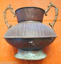 Vecchia rara brocca in rame vaso con 2 manici alto 17 cm X 20,5 anfora copper