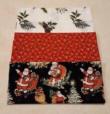 1+ Yard Mixed Christmas Print Fabric 100% Cotton Lot Santa Pinecones Holly