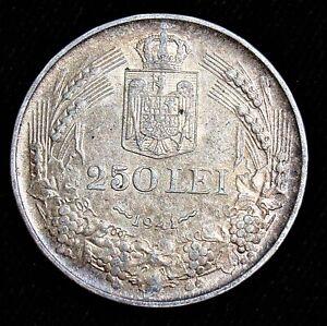 Romania: King Mihai I 250 lei 1941 Silver Coin