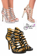 Strappy, Ankle Straps Synthetic Wet look, Shiny Heels for Women