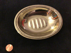"""Croscill Fancy  Home Fashions Silver Soap Dish  5.5"""" Saxony Made In India"""