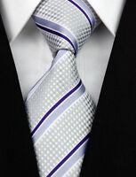 AS0157 Gray Blue Stripe Classic Elegant Woven 100%Silk Necktie Man's Tie