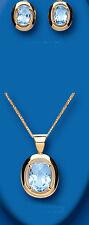 9ct Topacio Azul Oro Amarillo Grande Oval Set Colgante & Pendientes con 45.7cm