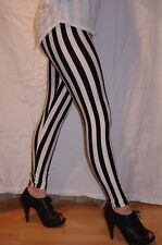 Black and White vertical striped ladies Leggings