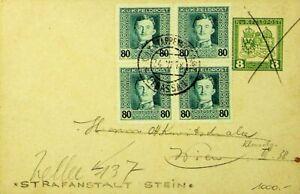 ALBANIA 1918 WWI KUK FELDPOST CARD W/ 80h B4 FROM ELBASSAN REDIRECTED TO AUSTRIA