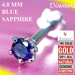 4.0mm Natural Blue Sapphire Nose Stud Labret Monroe Piercing Ring Screw 14k Gold