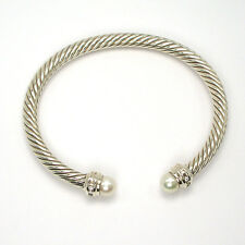 Special! 925 Sterling Silver Pearl And Diamond Cable Bangle, Size 7