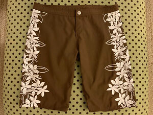 Rusty Boardshorts Swim Surf Trunks Men's Size 32 Brown Tropical Floral