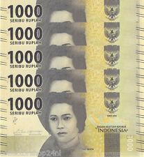 Indonesia 1000 Rupiah 2016 Unc 5 pieces