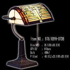 Bankerlamp Tiffany Lampe Schreibtischlampe ohne Zug braun grün gelb neu, T106M