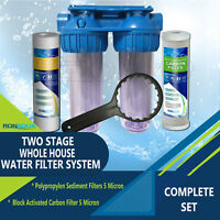 Dual Whole House Water Filter Purifier with Carbon Block and Sediment Filters