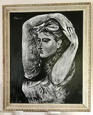 Picasso Rare Original Oil Painting Woman Figure Hand Signed