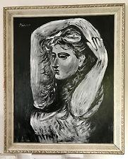 Picasso Raro Originale Pittura A Olio Woman Personaggio Autografato