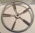 """Vintage Boat Steering Wheel Wood Chrome 18"""""""