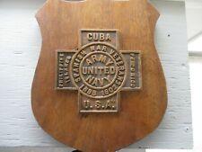 U.S. Spanish War Veteran 1898-1902 Bronze Metal Wall Plaque