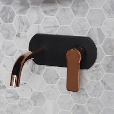 New Black / Gold Round WALL MIXER TAP Shower Bathroom vanity tapware