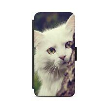 Cute White Cat Face Kitty Flip Wallet Phone Case