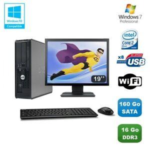 """Lot PC DELL Optiplex 780 Sff E7500 2,93Ghz 16Go DDR3 160Go WIFI Win 7 Pro + 19"""""""