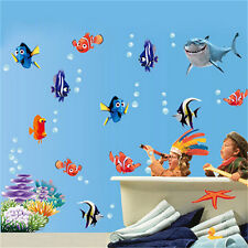 Cartoon Sea Fish Vinyl Removable Mural Wall Stick Kid Room Bathroom DIY Decor E&