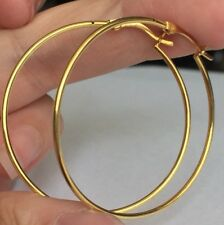 Yellow Gold On Silver  925  Hoop  Lever Catch Earrings 2.20gms