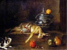 Dipinto natura morta con gatto Chardin Argento ZUPPIERA art print poster hp1825