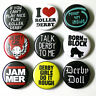 ROLLER DERBY Badges Buttons Pinbacks Pins x 9 Badge Lot - Size 25mm