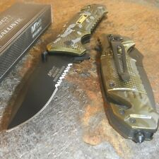 MTech BALLISTIC RESCUE RANGER Assisted Opening GREEN CAMO Glass Breaker Knife!!!