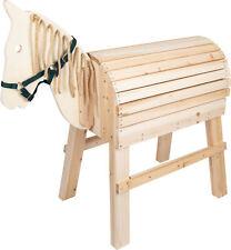 großes Holzpferd für Kinder Reitpferd mit Aufstiegshilfe und Halfter