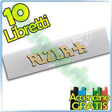 RIZLA cartine SILVER LUNGHE King Size kingsize SLIM 10 pz + ACCENDINO