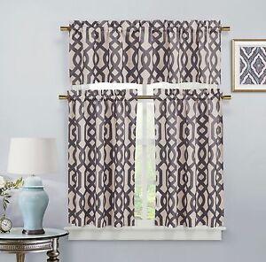 3 Pc. Taupe Grey Tan Window Curtain Set: Geometric Lattice Design