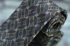 Barneys New York Men's Tie Gray Gold Blue Geometric Luxury Silk Necktie
