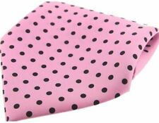 David Van Hagen Mens Polka Dot Silk Twill Pocket Square - Pink/Black