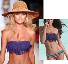L Space Dolly Fringe Bandeau Strapless Iris Blueish Purple Bikini Swim Top M NWT