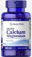 Puritan's Pride Chelated Calcium Magnesium 500mg/250mg 100 Caplets 11/21 Puritan