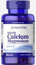 Puritan's Pride Chelated Calcium Magnesium 500mg/250mg 100 Caplets 8/21 Puritan