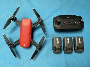 DJI Spark Drone Fly More Combo 1080p Red, 3x batt, 32GB SD, cases, car charger
