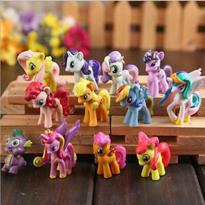 12 Pcs My Little Pony Rainbow PVC Action Figure Cake Topper Kids Girl Toys Doll