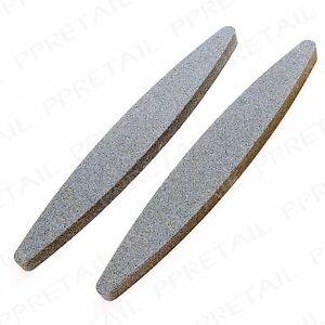 """2 x OVAL BOAT SHAPED 9"""" Sharpening Stone Scythe Scissor Blade Axe Sharpener Tool"""