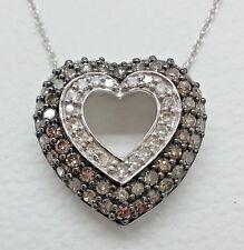 "Necklace .63 Ct Champaign and White Diamond 10K White Gold Heart Pendant New 18"""