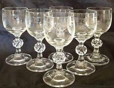 6 CASCADE BOHEMIAN CZECH ETCHED CRYSTAL Cordial GLASS 2 oz