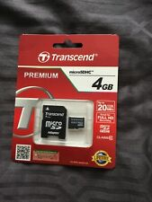 4GB Transcend Micro SD SDHC SD Memory Card Class 10 4GB With Adapter
