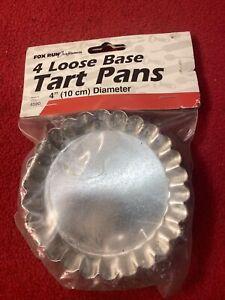 SET OF 4 VINTAGE ROUND MINI FLUTED TART PANS 4in