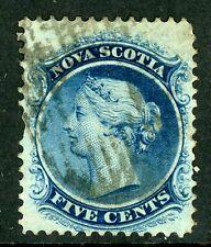 Canada 1860 Nova Scotia 5¢ Queen Victoria White Paper Sc 10 VFU F211