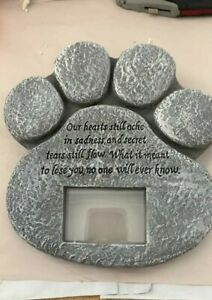 """New, ETCPaw Print Pet Outdoor Memorial Stone,with 2""""x3"""" Picture Frame, Free Ship"""