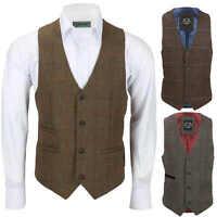 Mens Brown Tweed Check Waistcoat Herringbone Luxury Formal Tailored Fit Vest