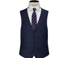 John Lewis Super 100s Wool Pindot Tailored Waistcoat, Blue UK Size 46R BNWT £60